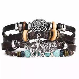 Peace Beads & Bangles Leather Bracelet Wrist Wrap